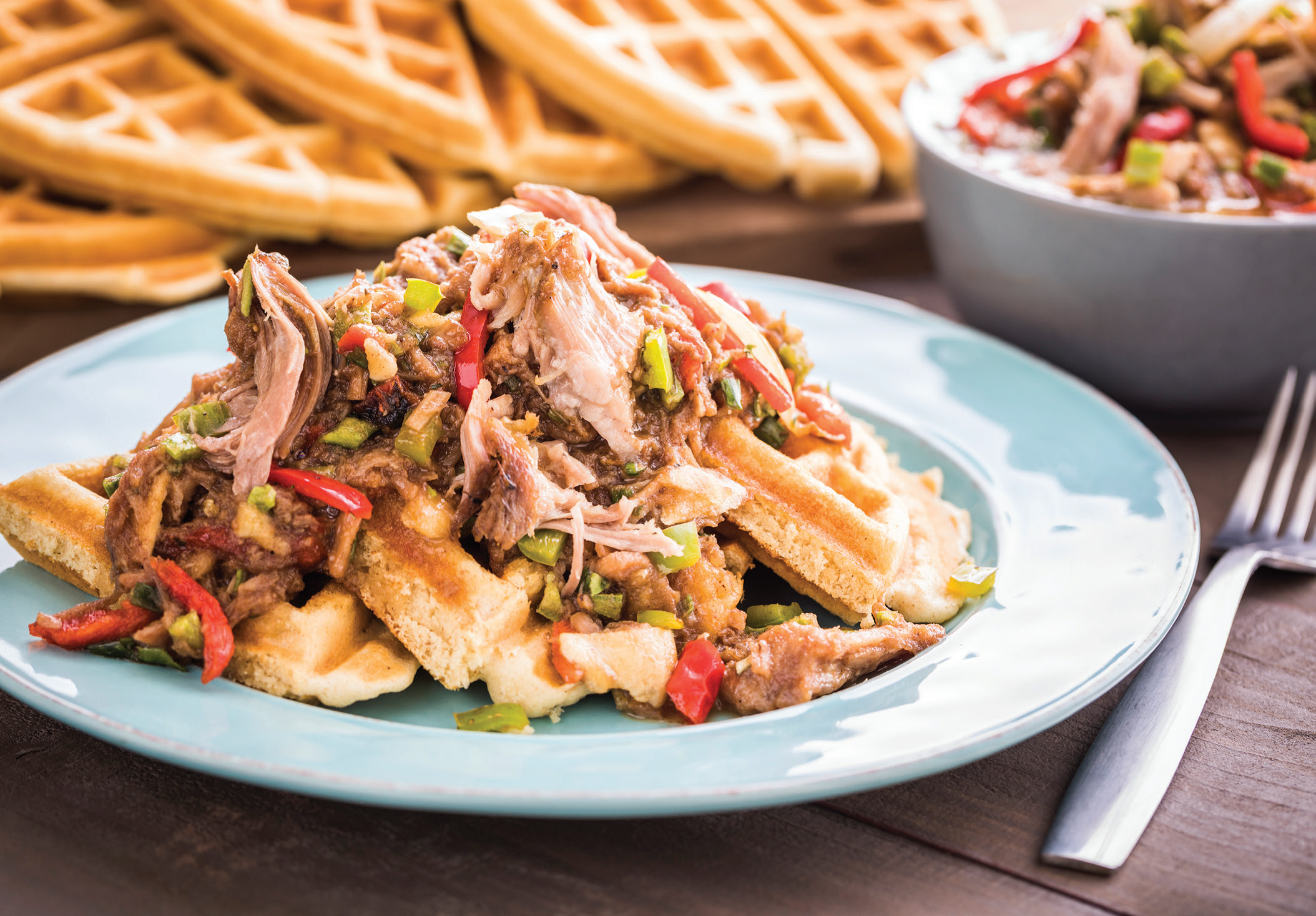 Maple Pulled Pork Waffles
