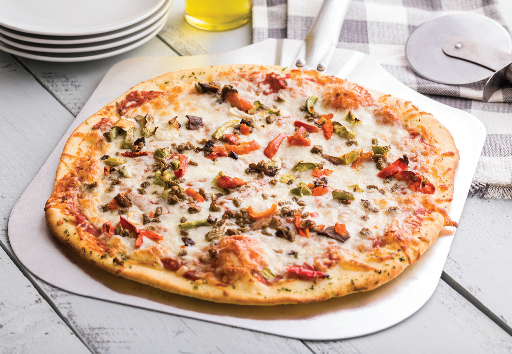 Sausage and Veggie Pizza